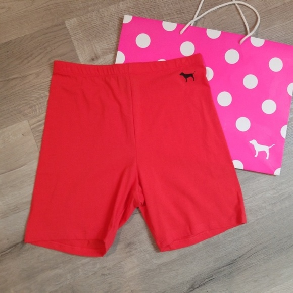 PINK Victoria's Secret Pants - VS Pink biker shorts High Waist RED Small